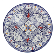 Moroccan Ceramic Plate Platter Handmade Hand Painted Safi Multicoloured 40 cm / 15.7''